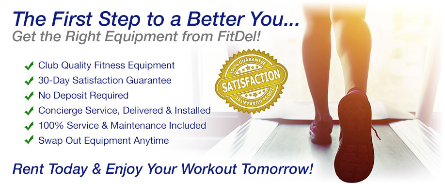 Rent Club Quality Fitness Equipment, Club Quality Fitness Equipment, 30-Day Satisfaction Guarantee, No Deposit Required, Concierge Service, Delivered & Installed, 100% Service & Maintenance Included, Swap Out Equipment Anytime